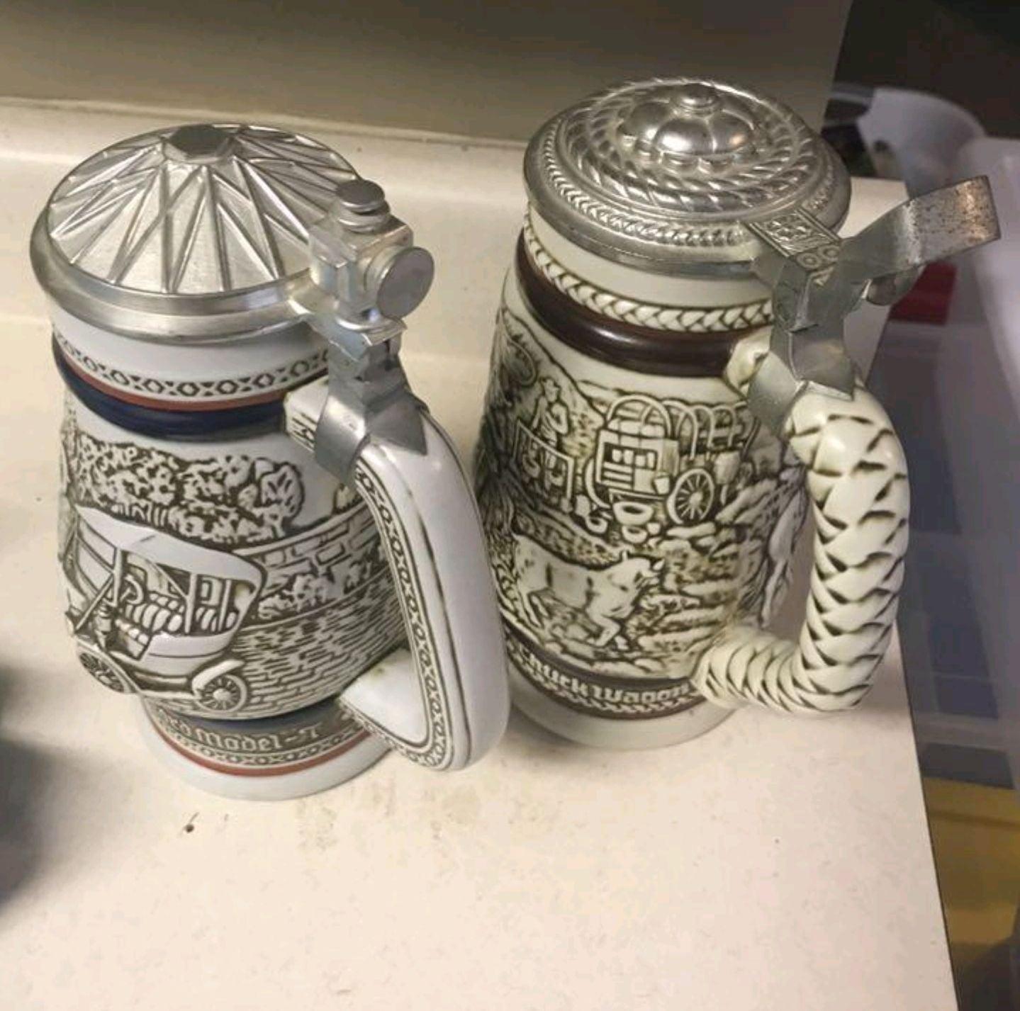 2 x AVON Beer Stein Mugs • Collector
