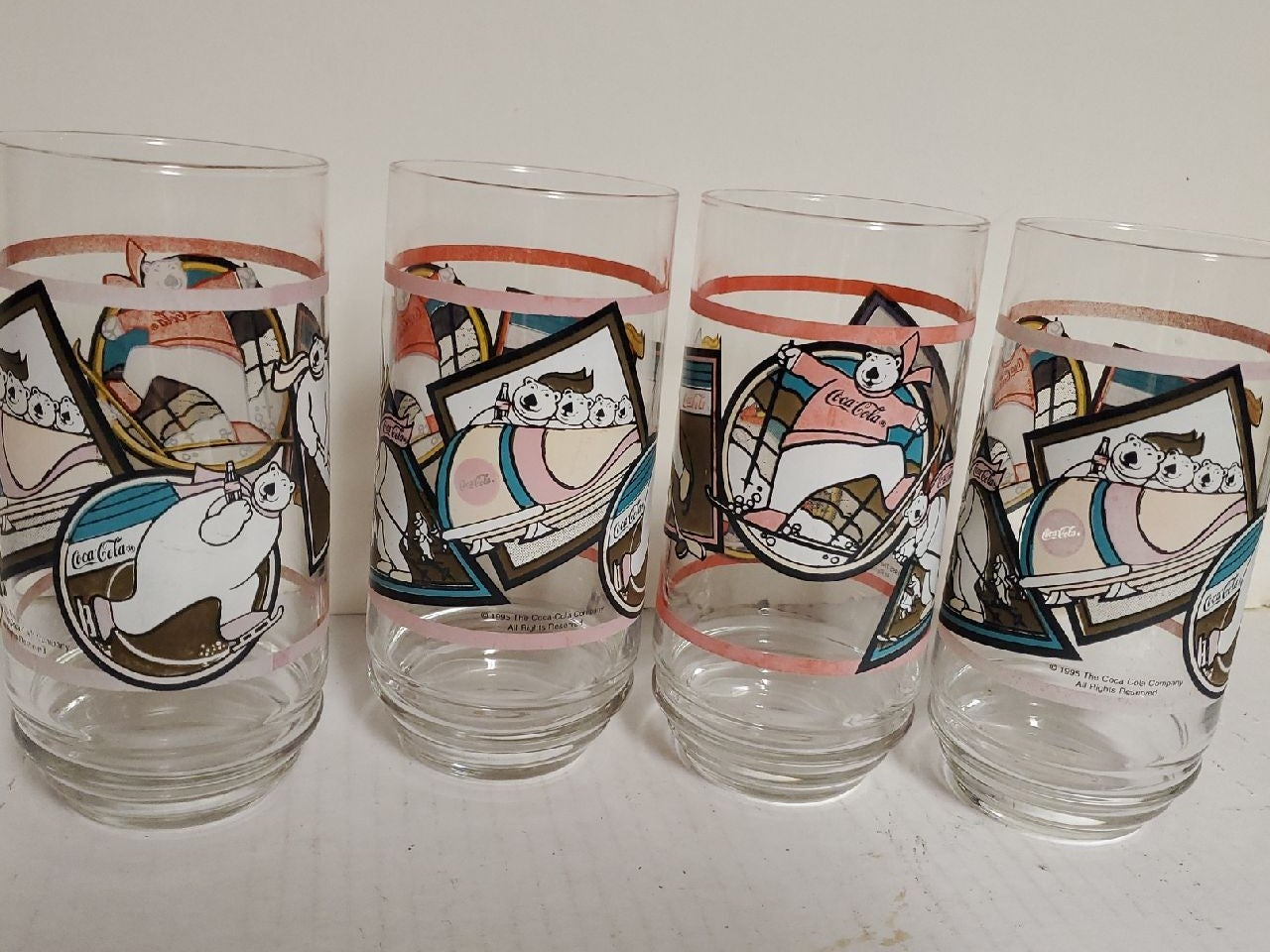Vintage 1995 COCA- COLA Bear Glasses 4