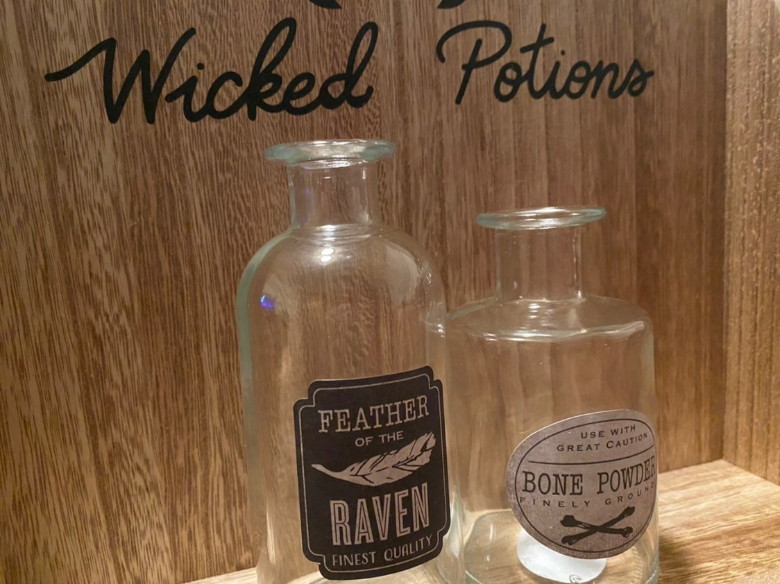 Wicked Potions Shelf with Two Bottles