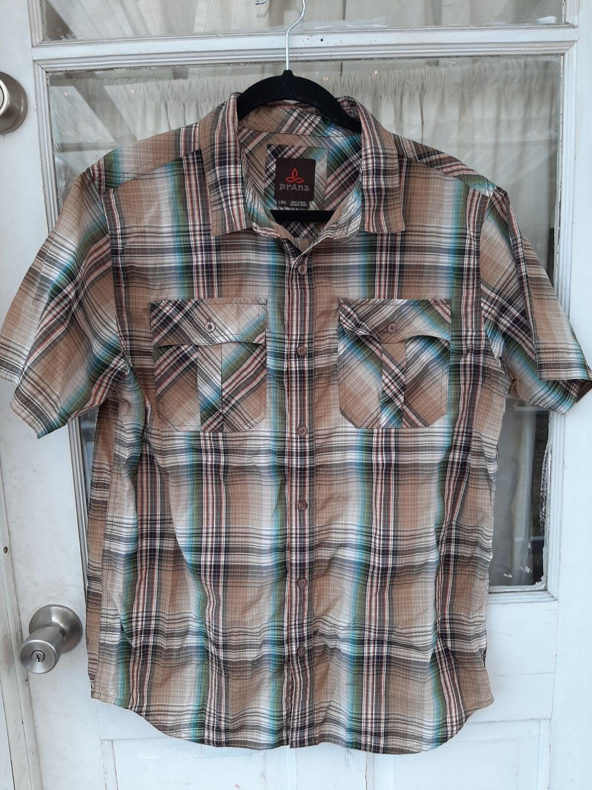PRANA Mens Plaid Short Sleeve Shirts Sz
