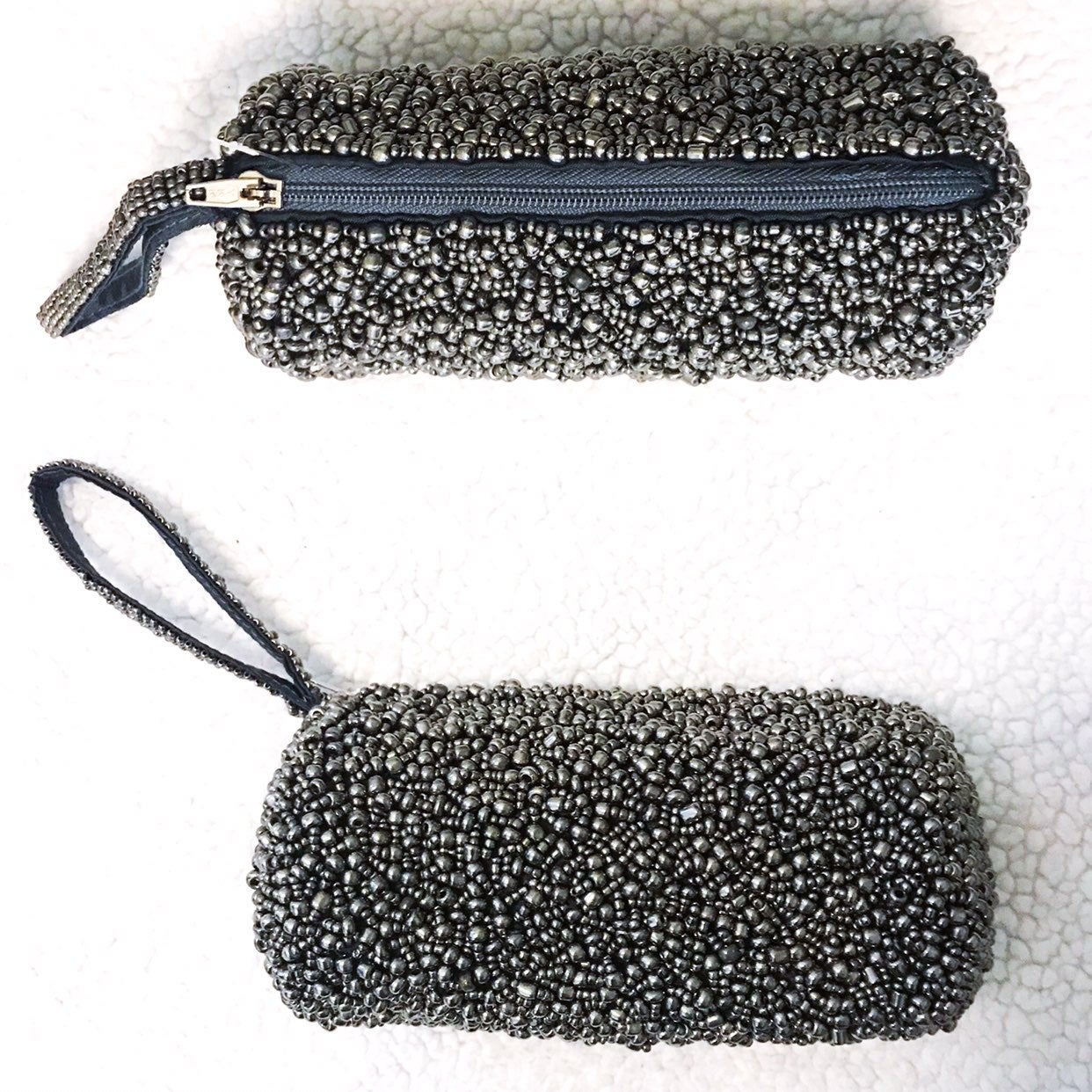 Gunmetal Glass Beaded Pouch with Strap