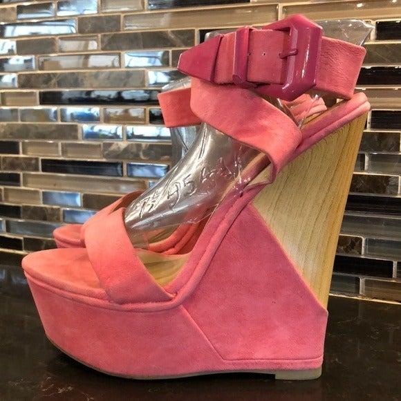 Sheikh coral wood heel wedges