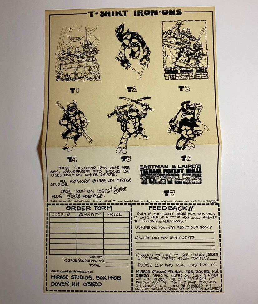 1983 TMNT Iron-On Shirt order form