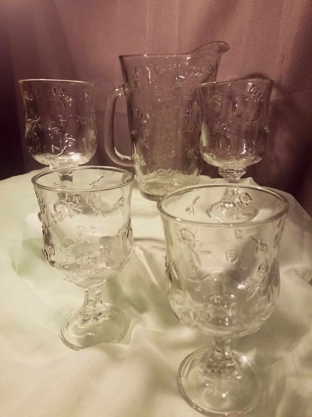 Etched Glass Pitcher and glasses