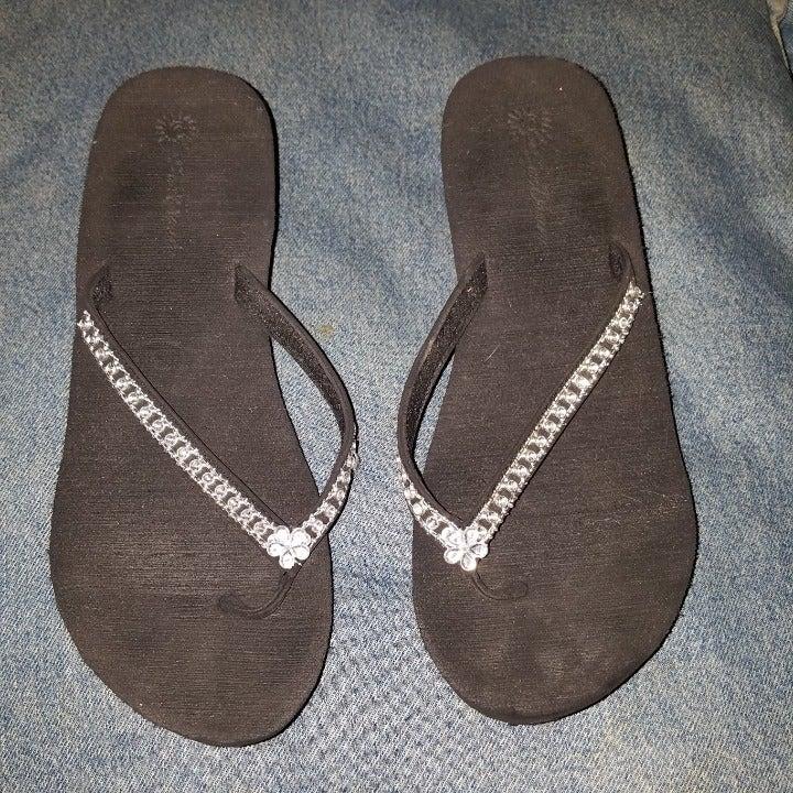 SunDance Black Rhinestone sandals 8.5 9