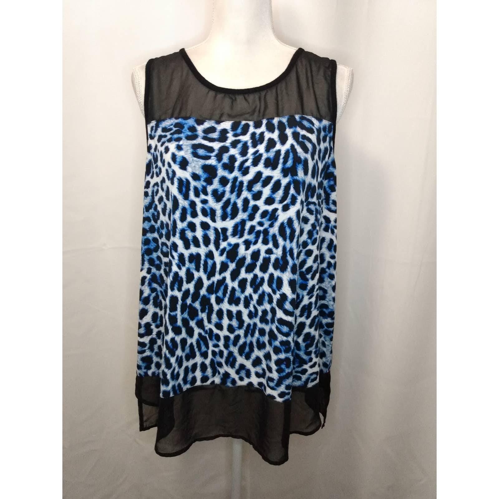 Vince Camuto blue leopard tank top