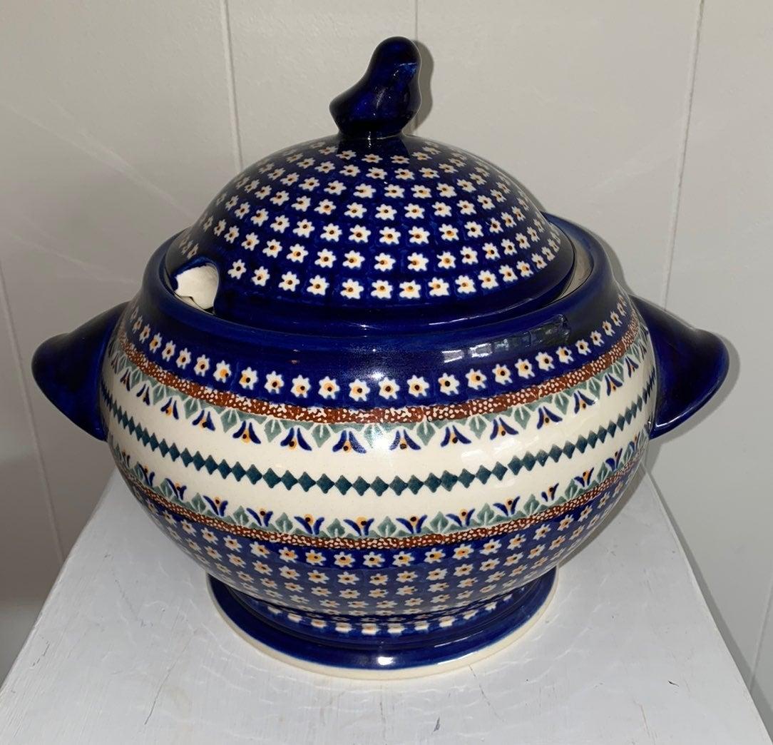 Handmade Polish Pottery Soup Turee, serv
