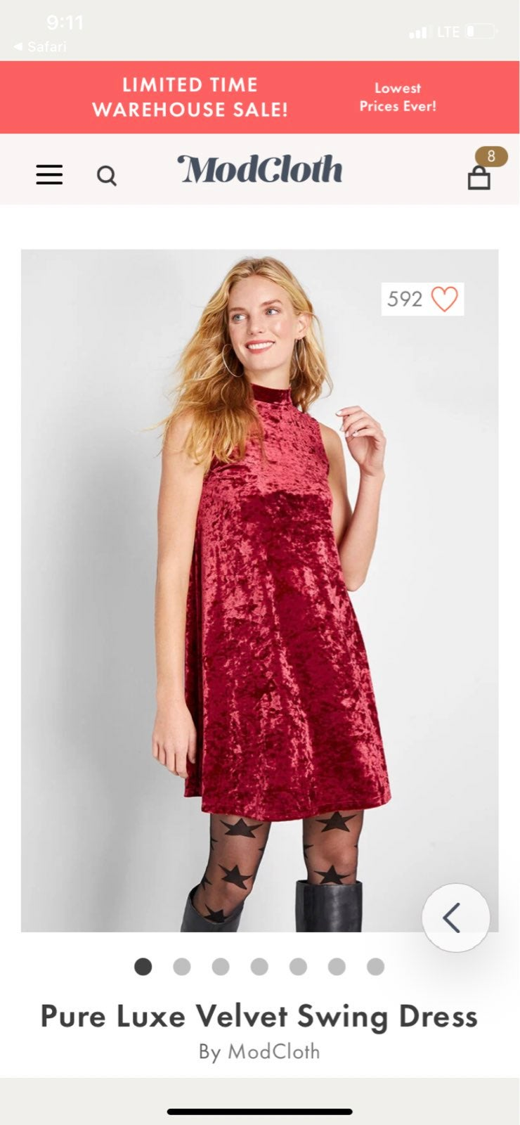Modcloth pure luxe velvet swing dress