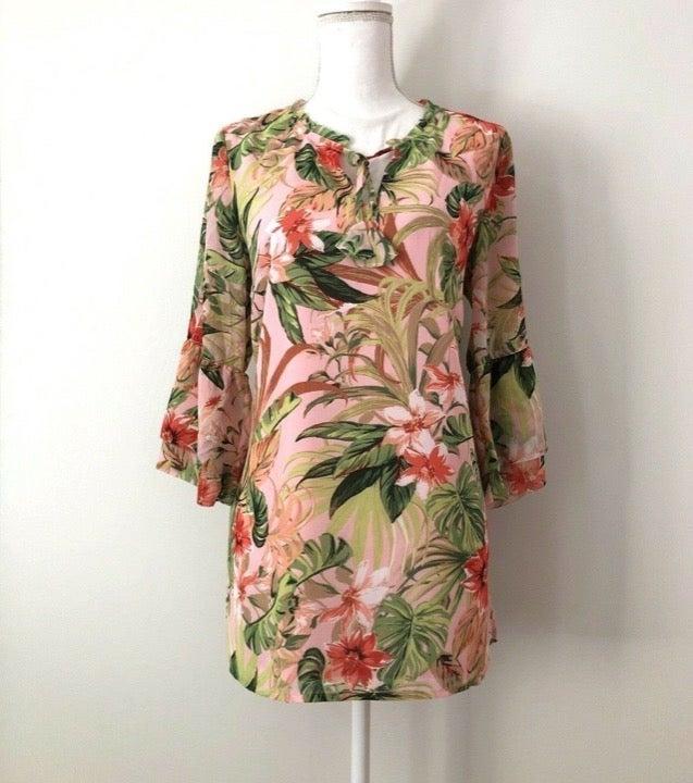 $100 J.Jill  Floral Tunic Blouse Tropica