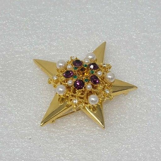 Vintage Gem Craft Star Brooch Gold Tone