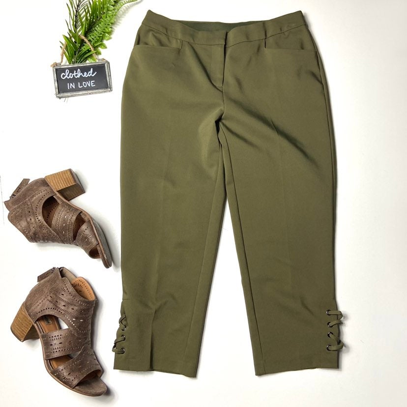 Rafaella Olive Green Ankle Dress Pant