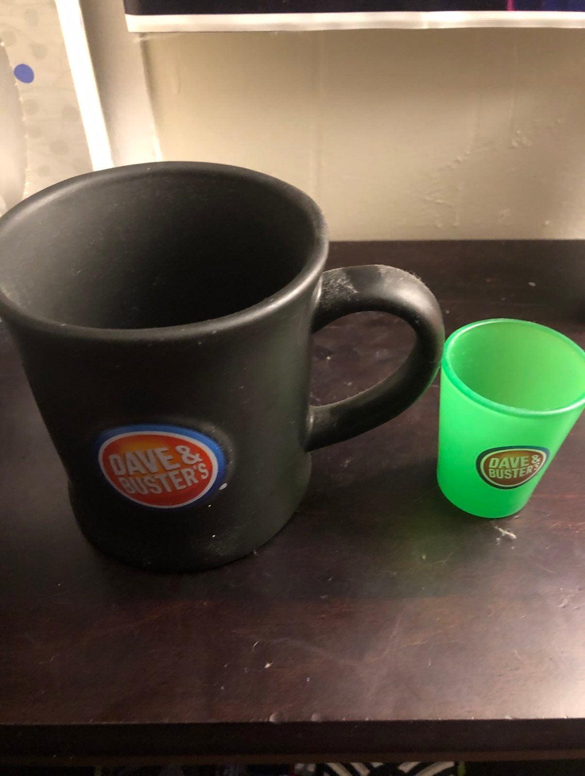 Dave and Busters coffee mug and shot gla