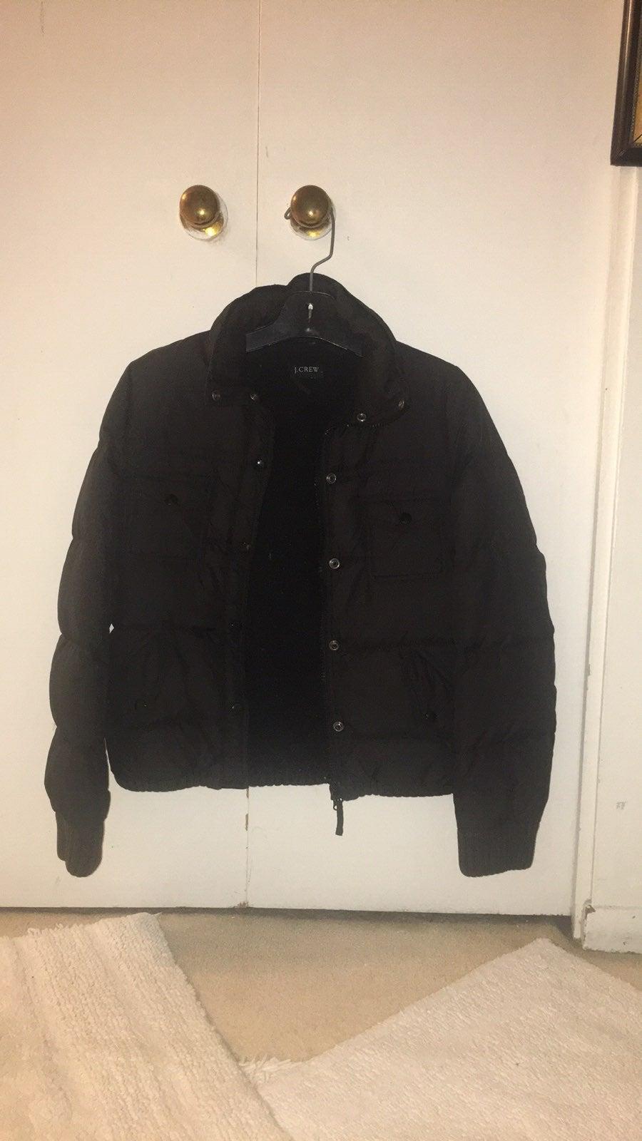 J. Crew Black Puffer Sherpa Lined Coat