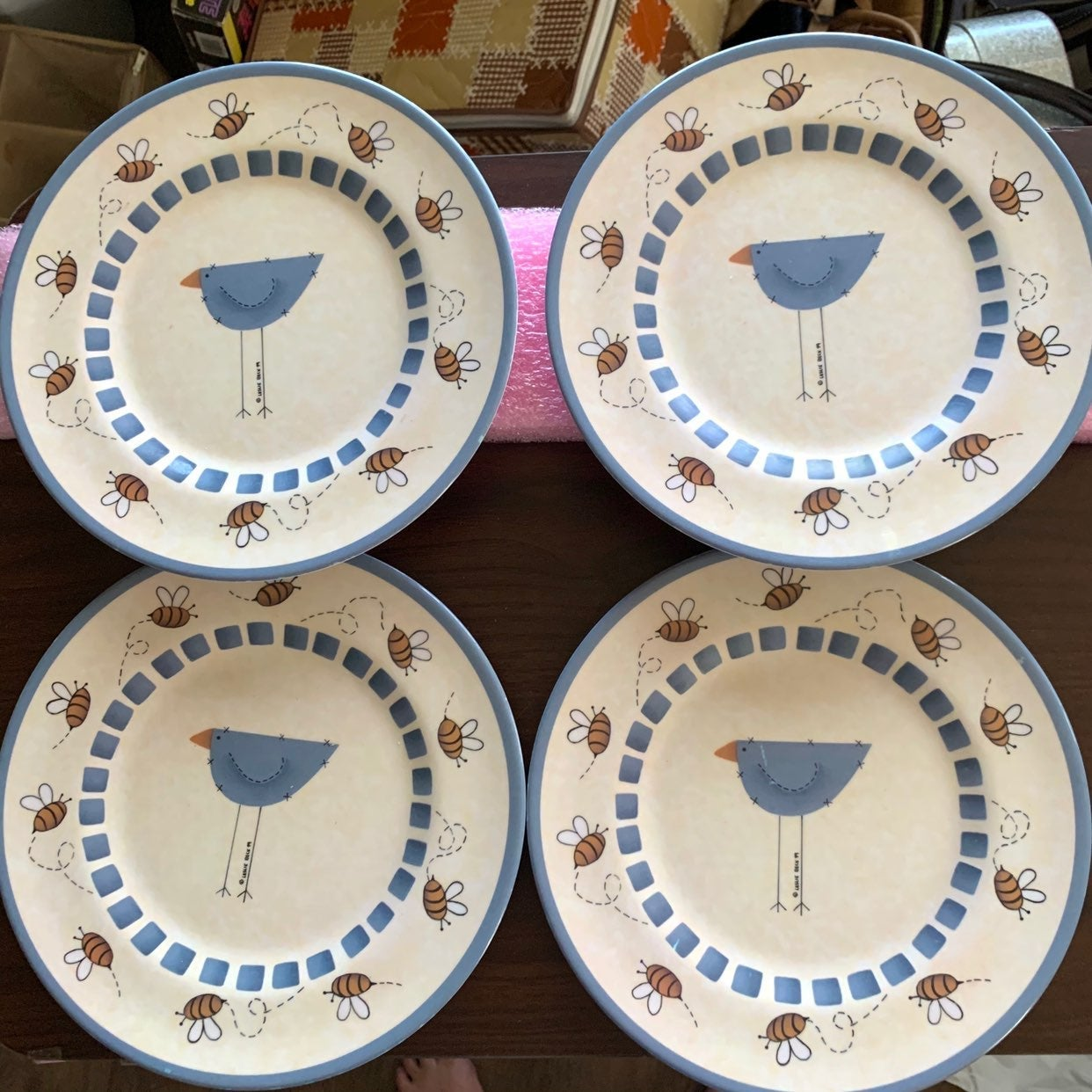 Vintage Sakura Melmac Bird/Bees Plates