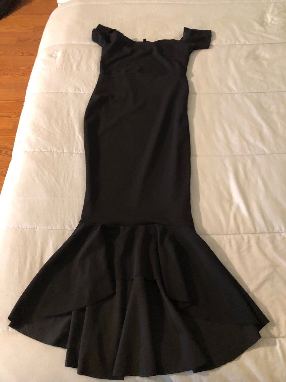 black bardot fishtail bodycon midi dress