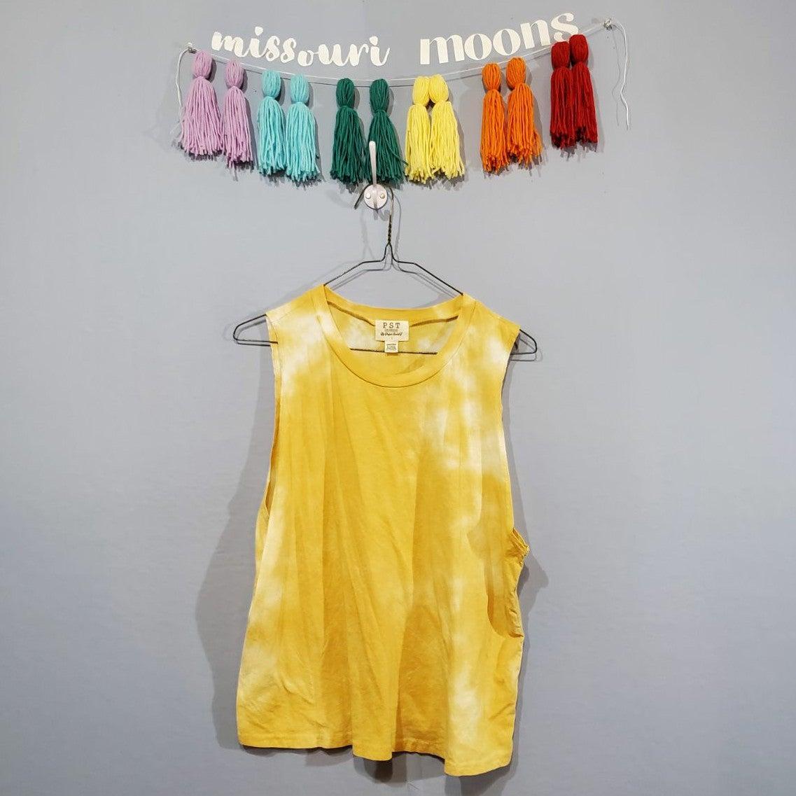 PST Yellow Tie Dye Muscle Tank