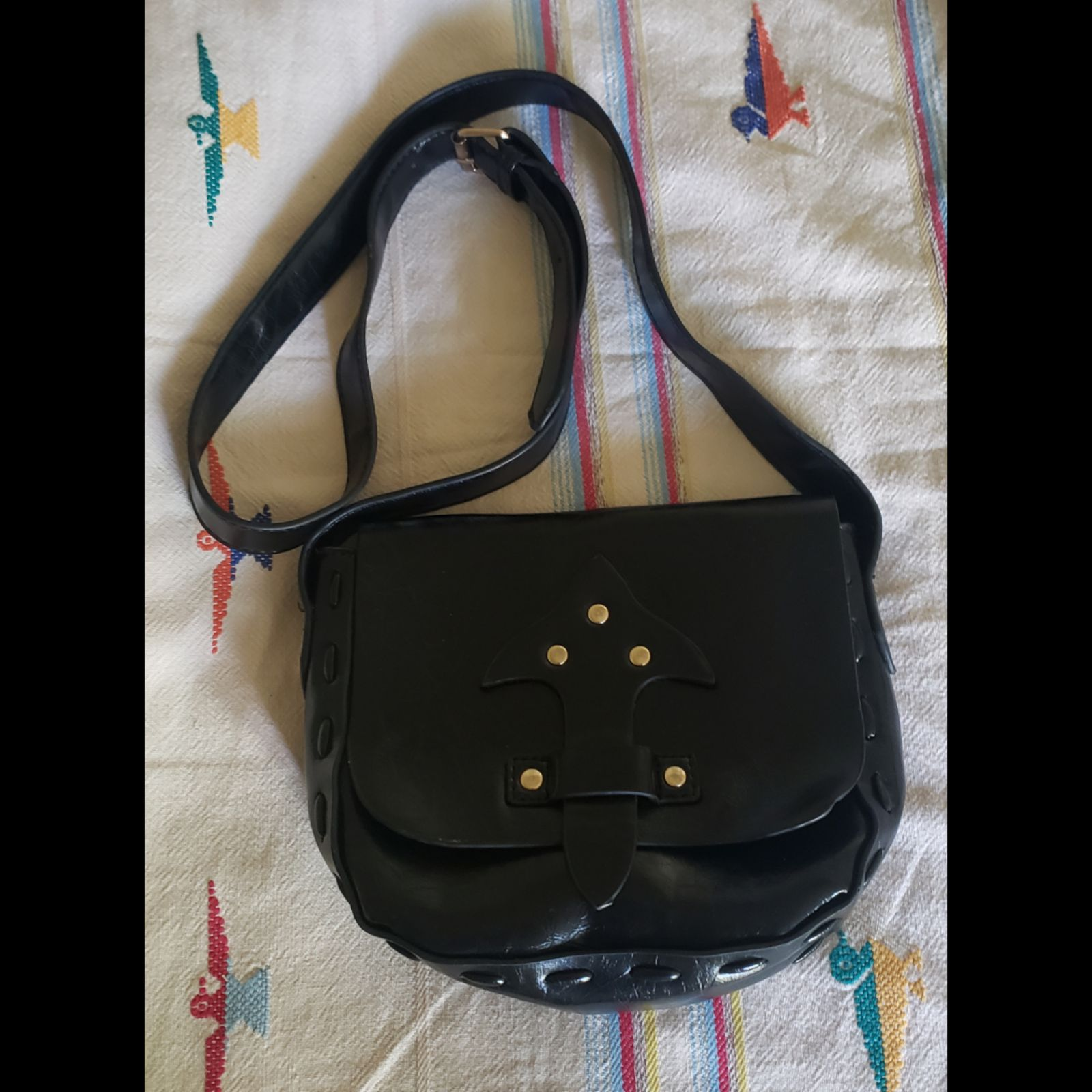 Faux Leather Black Crossbody Bag