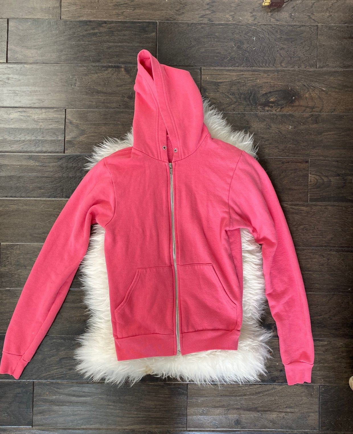 American Apparel Pink Zip Up Hoodie