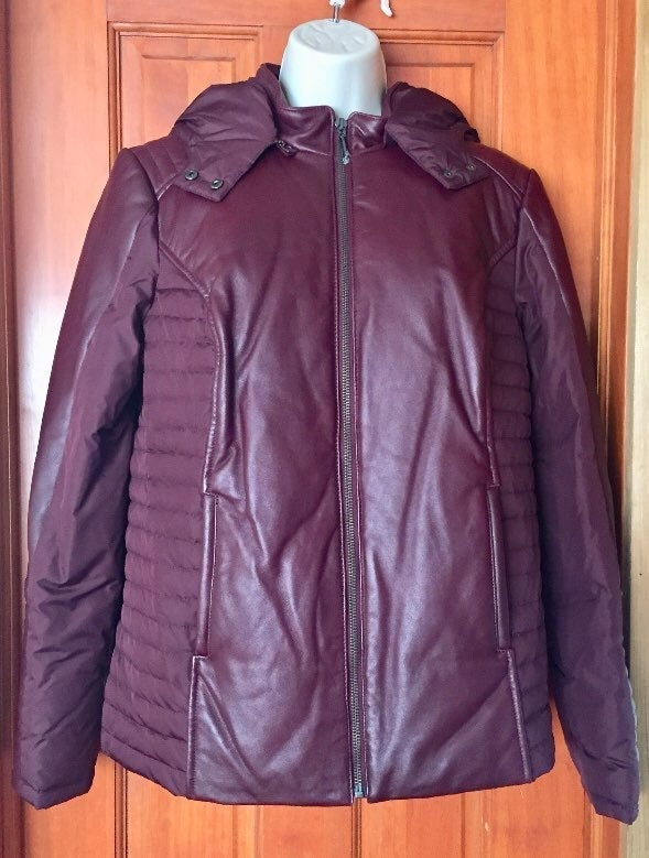 H by Halston Purple Leather Jacket 8