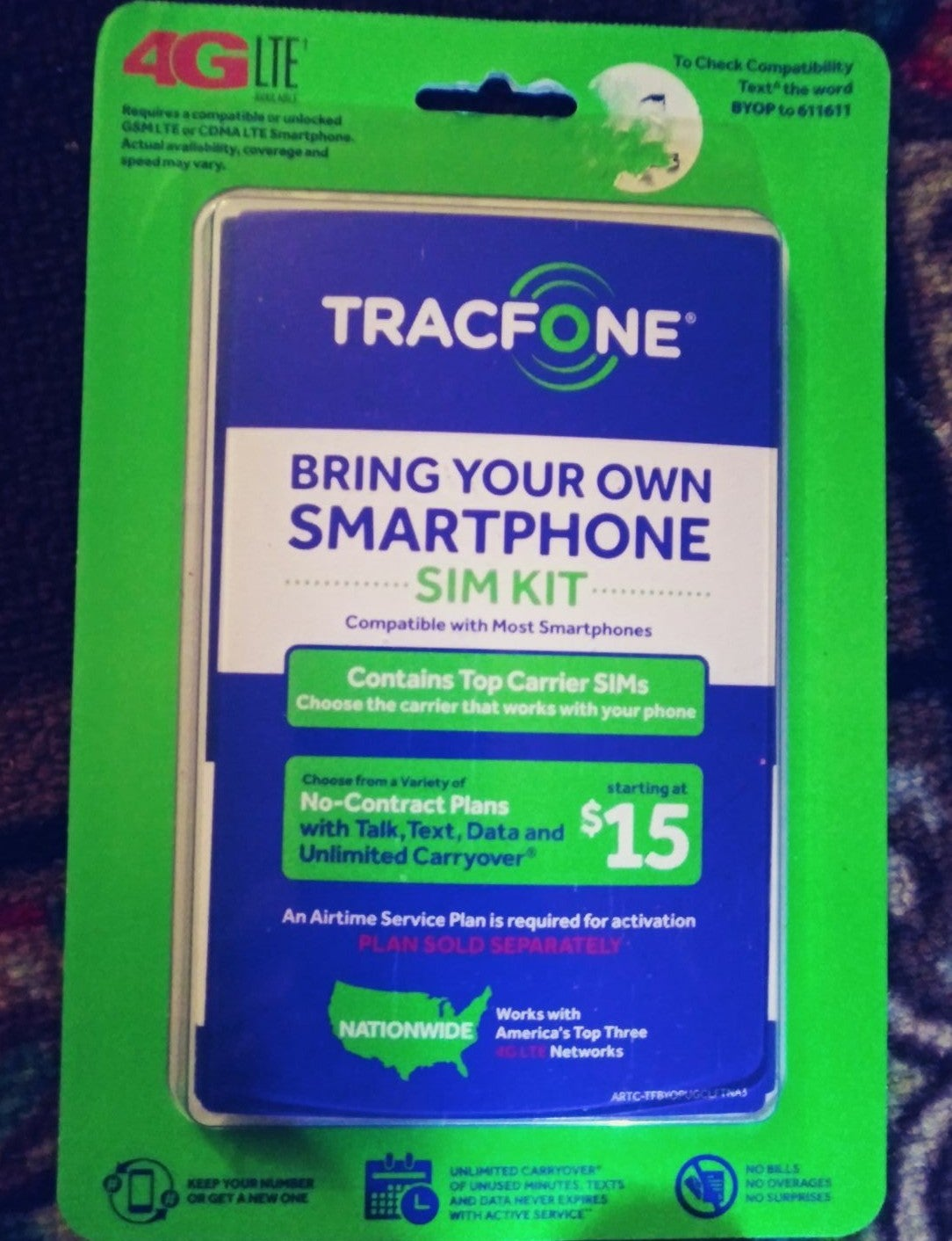 Tracfonw 4glte bring your own phone SIM