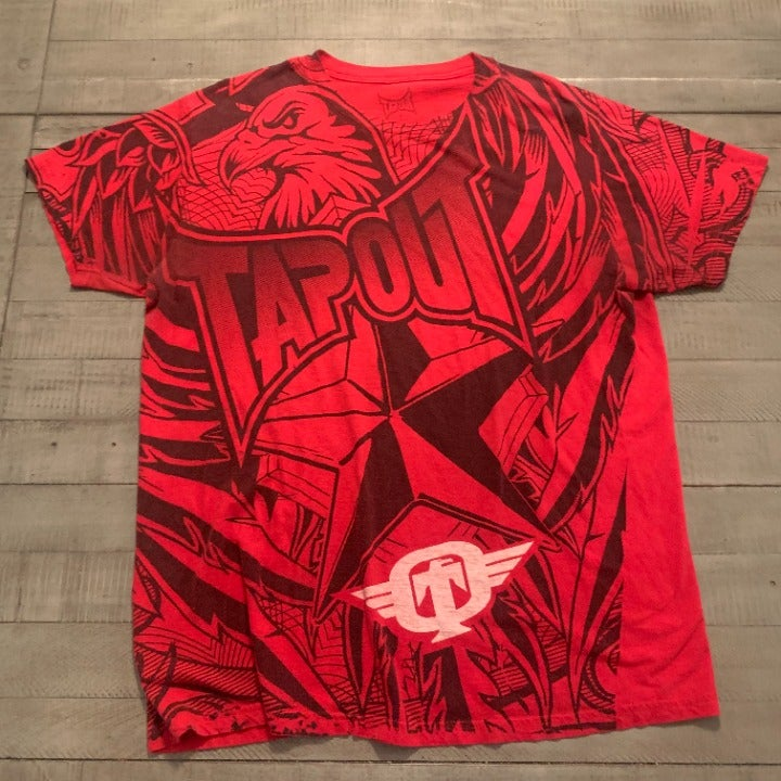 Vintage Tapout MMA UFC Red & Black T-shi