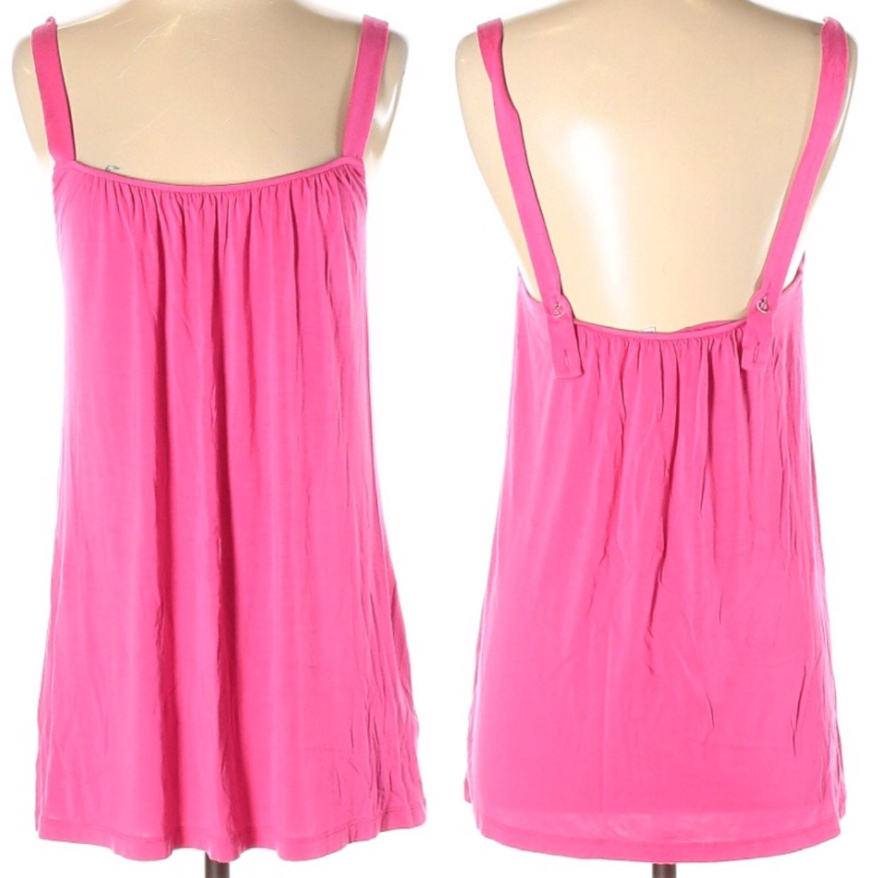 CAbi Trapeze Pink Ruched Sleeveless Top