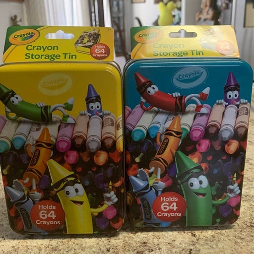 Lot of 2 Crayon Storage Tin Holds 64 Cra