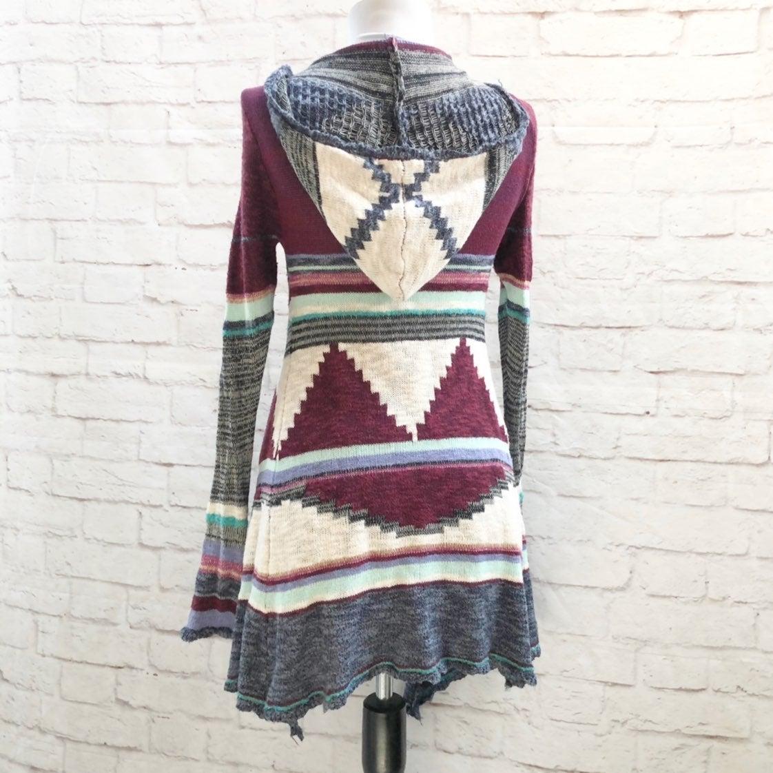 MUDD Tribal Ikat Hooded Long Sweater XS