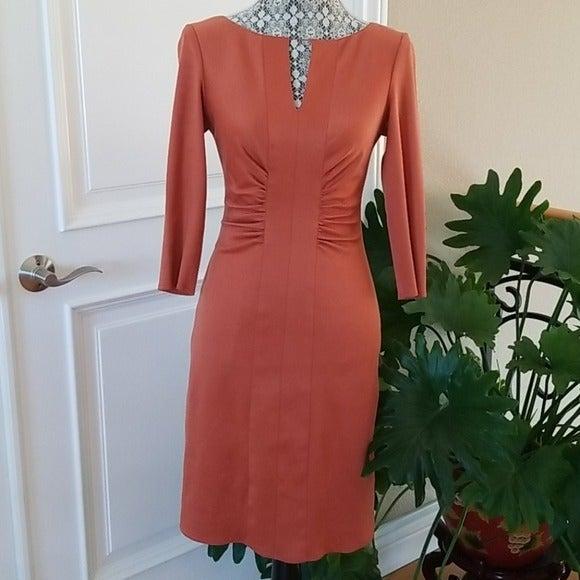 Kay Unger burnt orange long sleeve dress