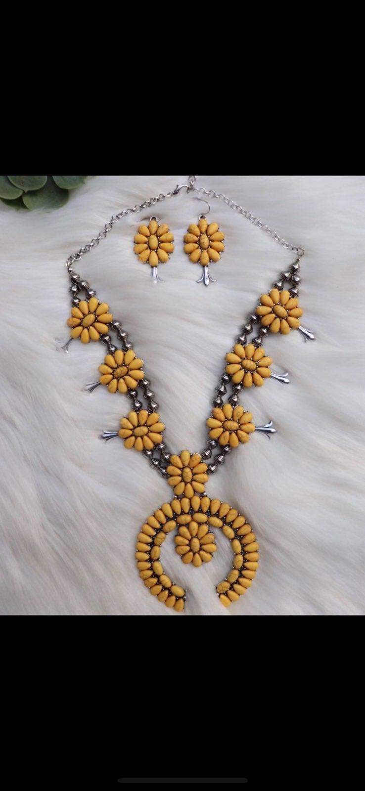 Yellow squash blossom neckalce