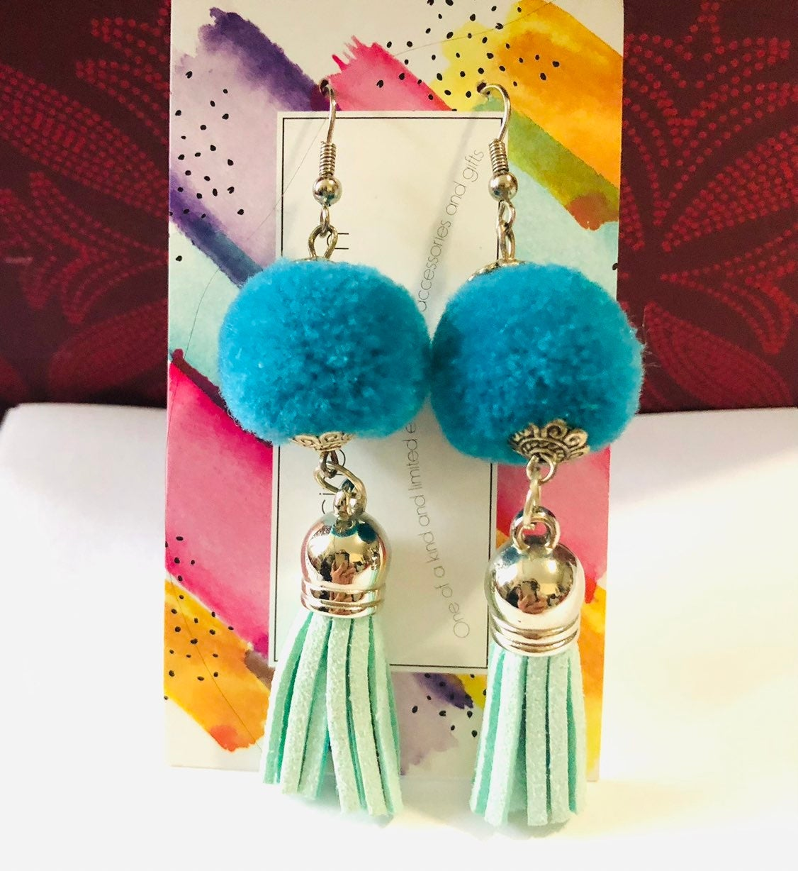 Blue Earrings - leather and pompom NEW