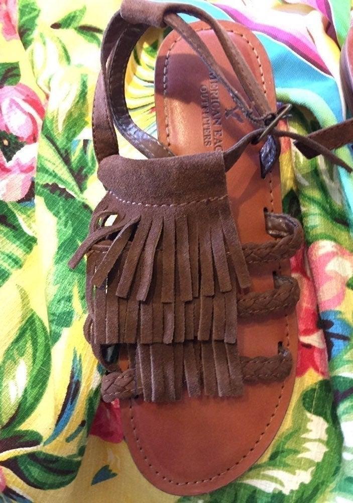 Boho Fringe Sandals: AE 6.5 Leather