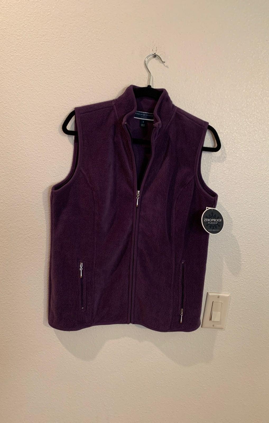 Karen Scott Small Purple Fleece Vest New