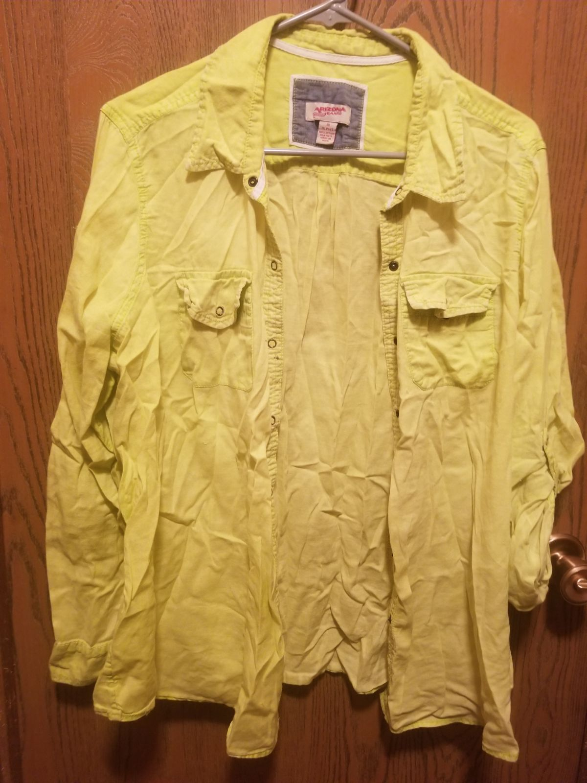 Lime green neon button down