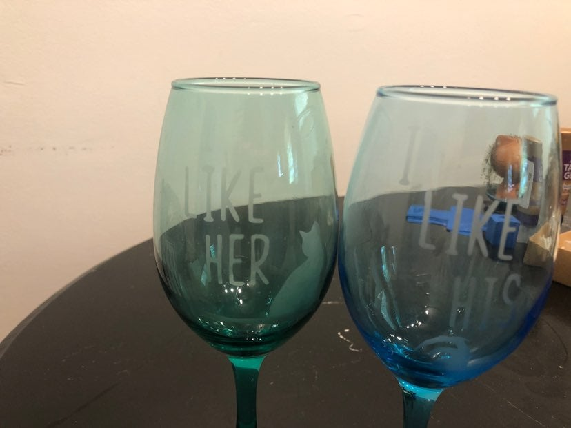 Etched wine glasses tinted