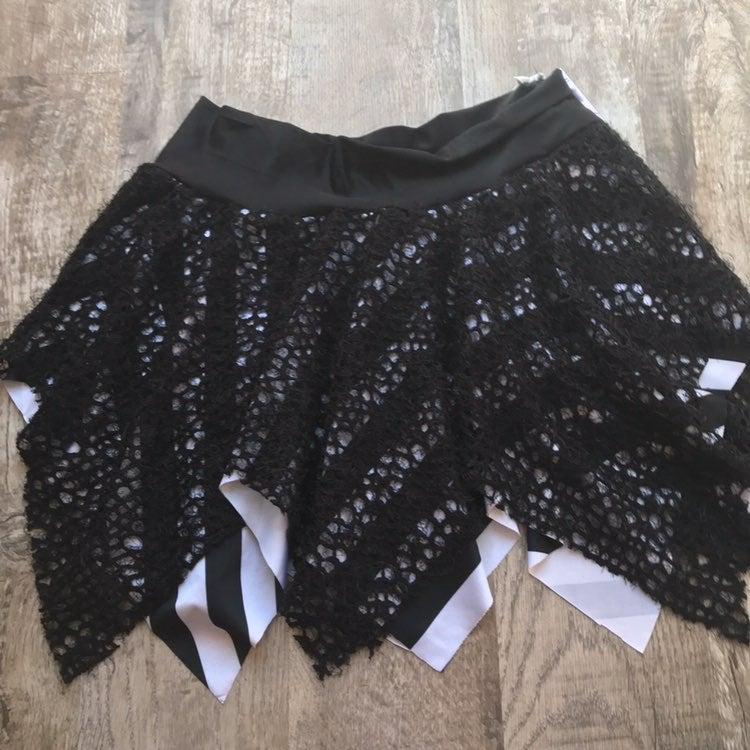Black Gothic Striped Fishnet Skirt Large
