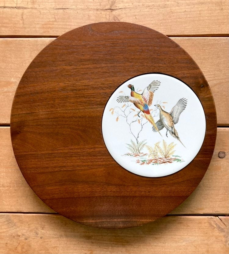 "Vintage 12"" walnut serving tray pheasant"