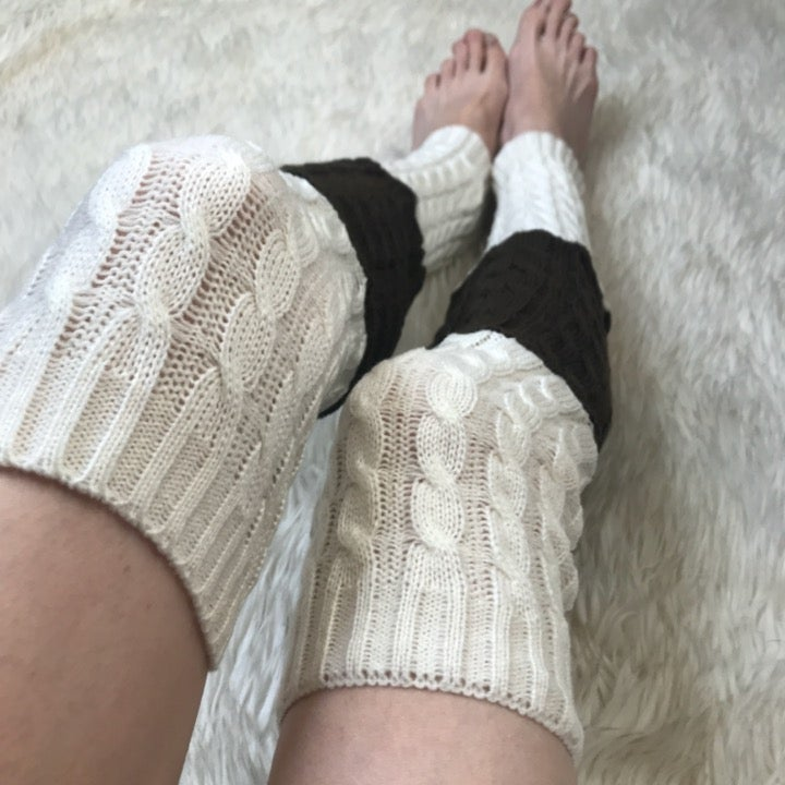 White Brown Cable Knit Leg Warmers Socks