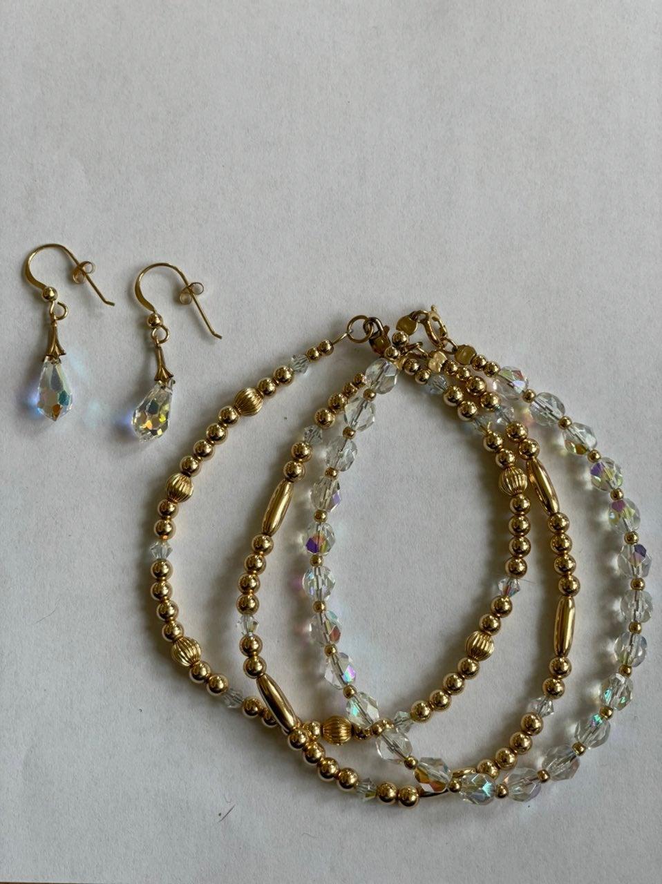 Tear Drop Earrings and Bracelet Set
