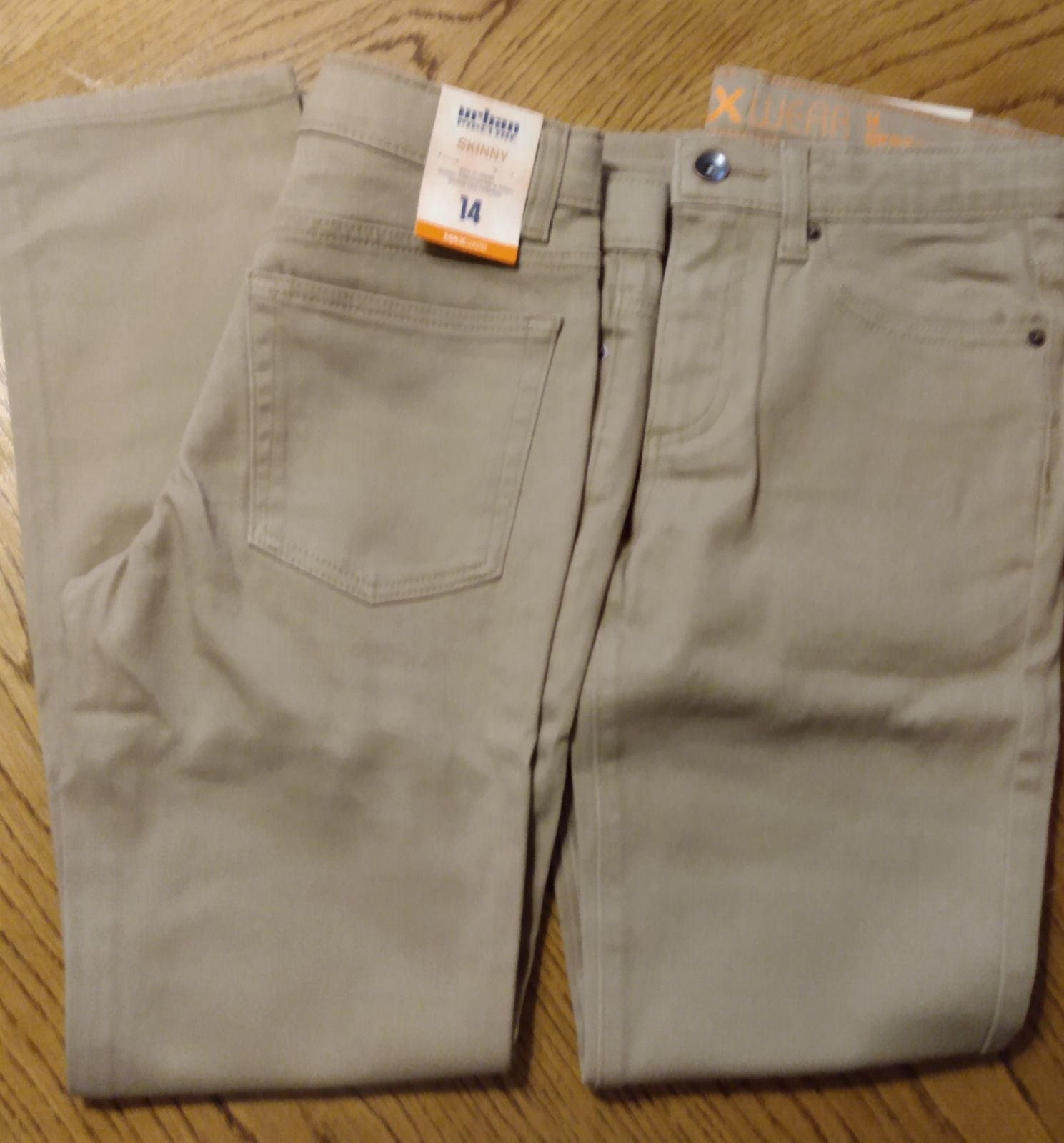 2 pairs boys skinny jeans, khaki, size 1
