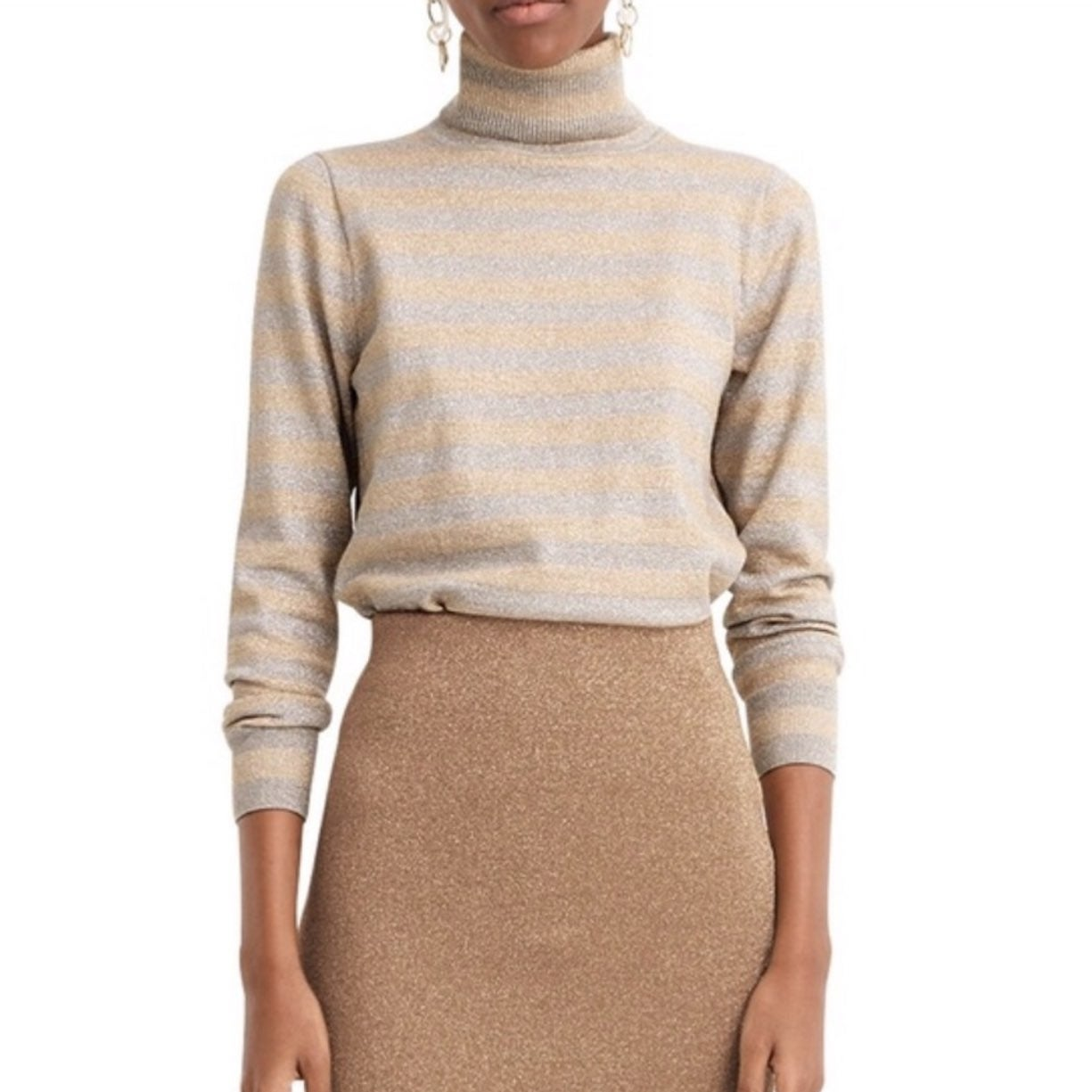 J.Crew Stripe Turtleneck Sparkle Sweater