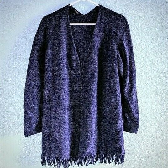 TALBOTS Fringed Navy Sweater