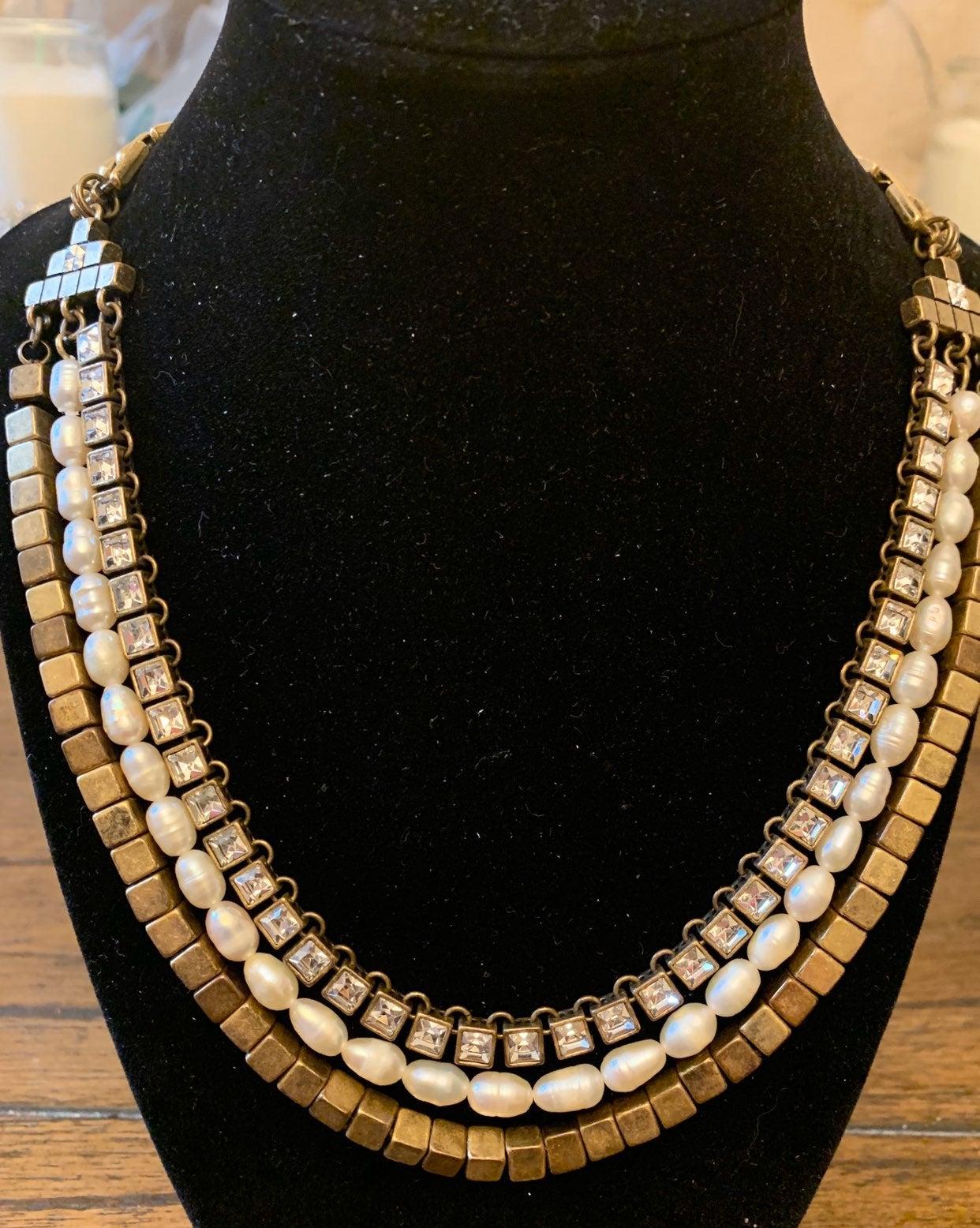 Ann Taylor gold tone multi strand neckla