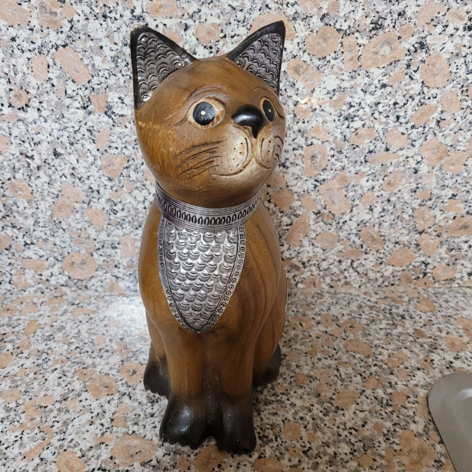 Hand Curved Wooden Cat Figurine