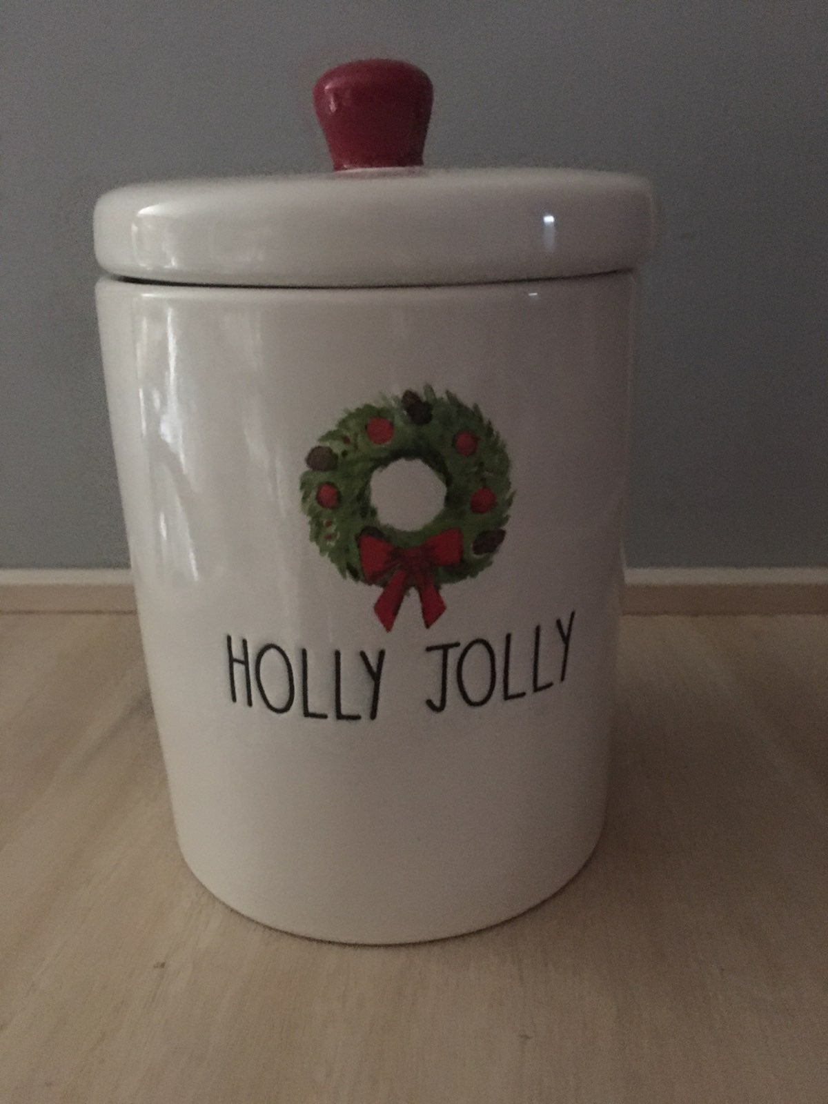 Rae Dunn HOLLY JOLLY JAR