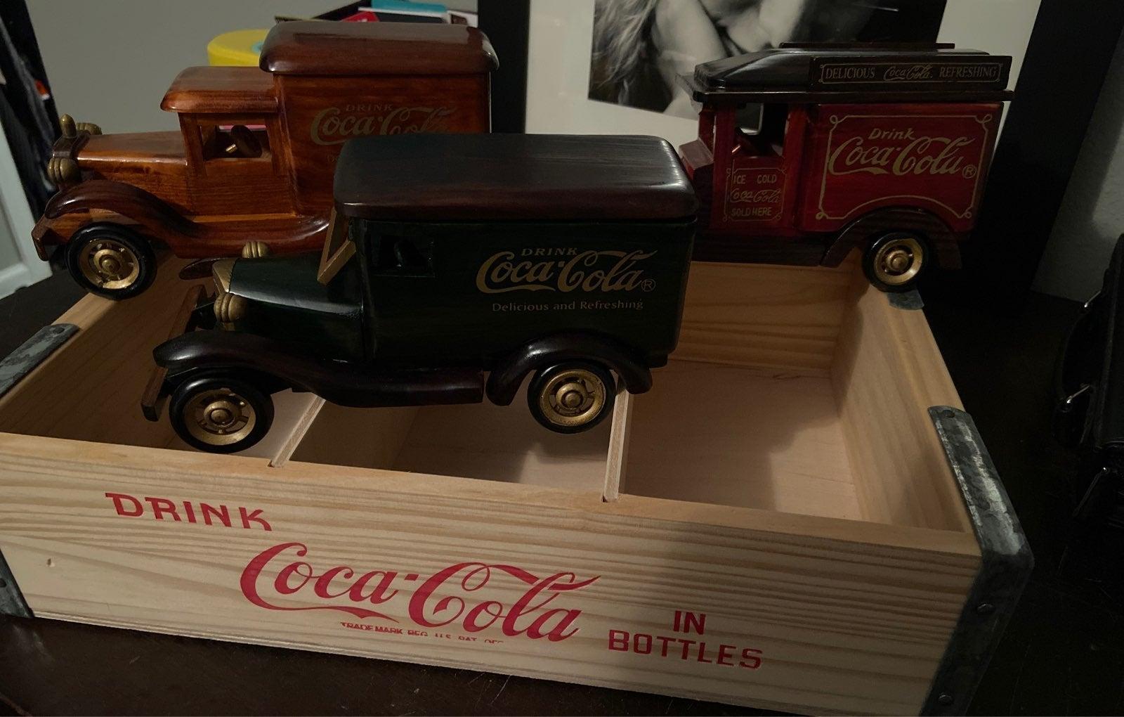 Vintage Coca Cola Wooden Delivery Trucks
