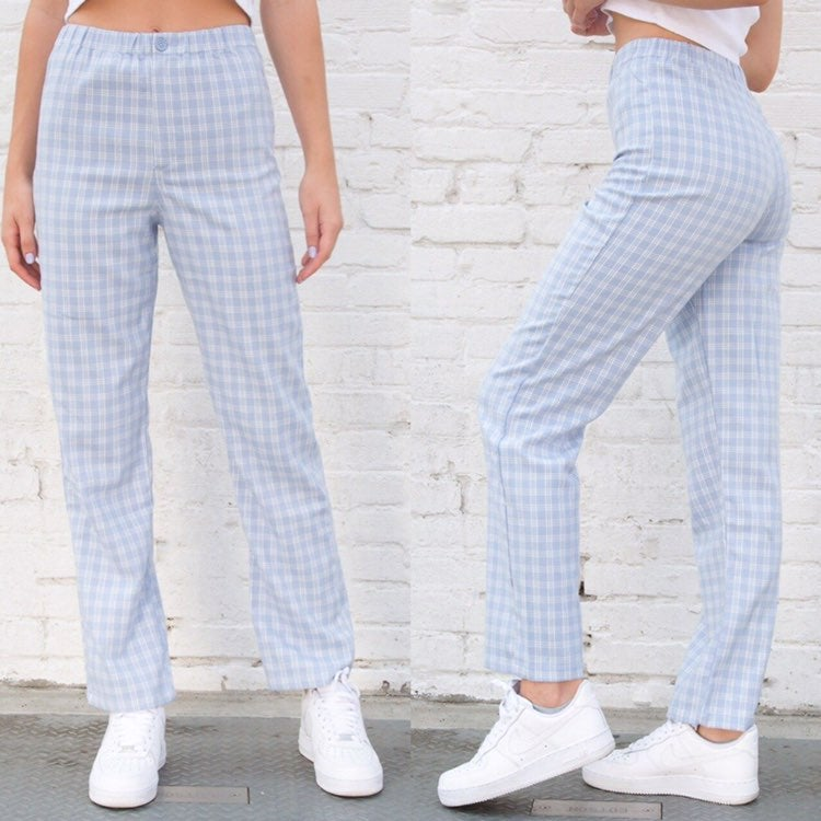 Brandy Melville Blue Plaid Tilden Pants
