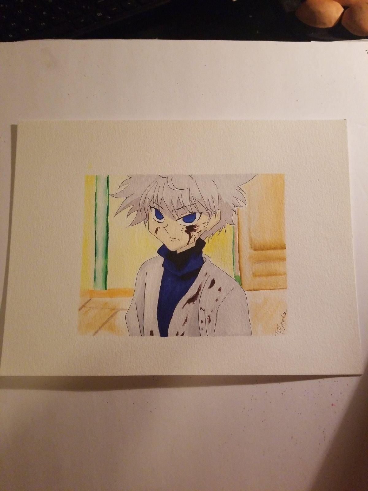 Killua prismacolor anime art 9×12 inch