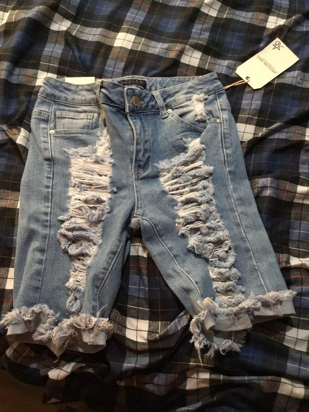 Ripped Denim Bermuda Jean Shorts