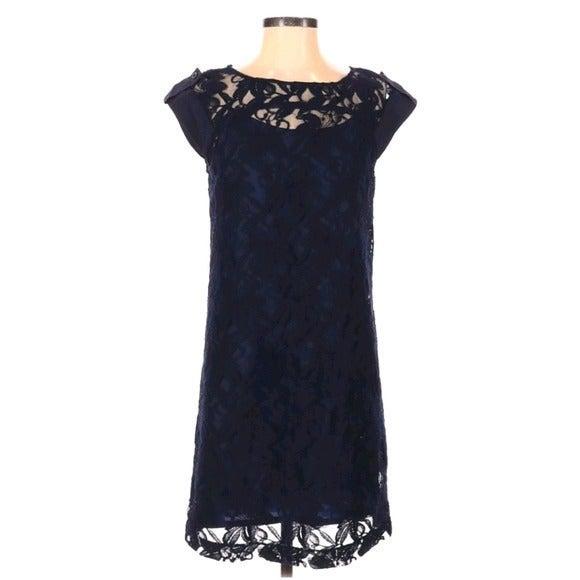 Cynthia Steffe Silk Navy Lace Cap Sleeve